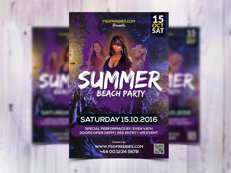 Summer Beach Party Flyer Template PSD