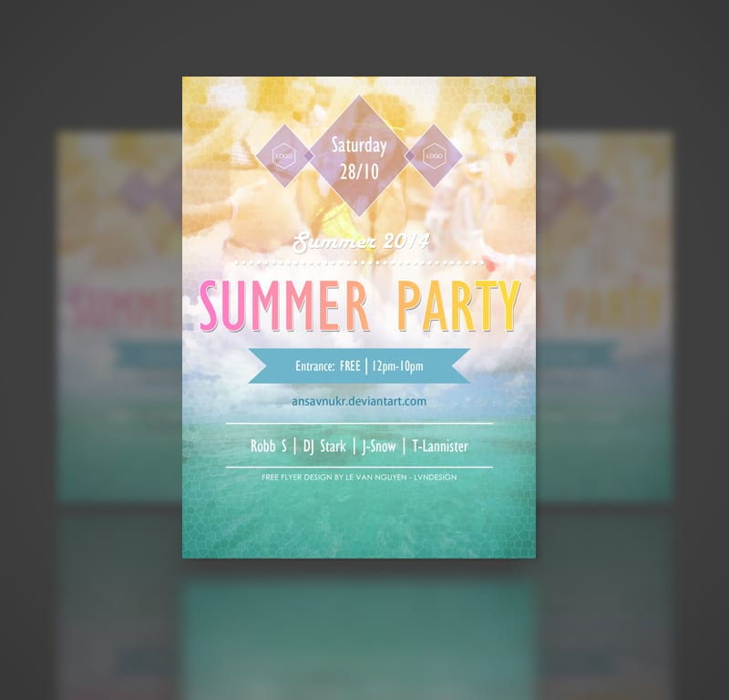Summer Party- Free Party Flyer Template PSD