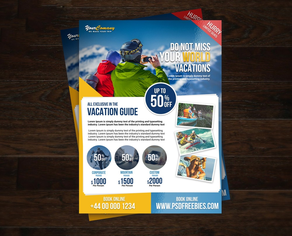 Travel Tour and Vacation Flyer Template PSD