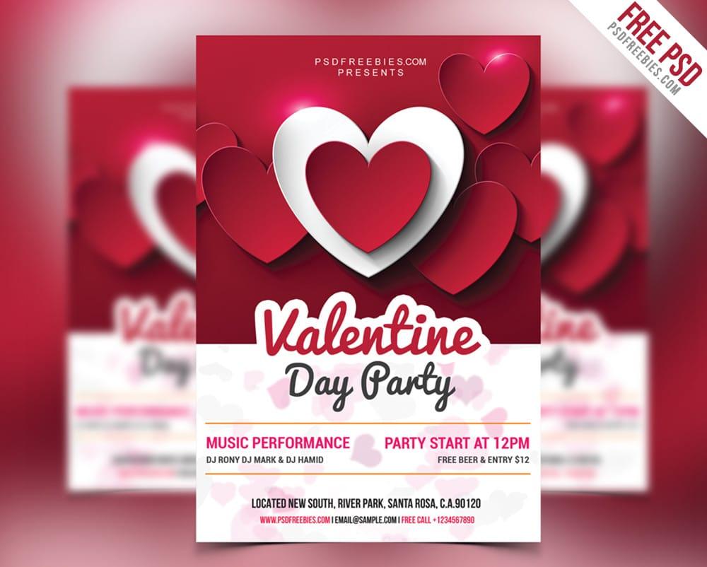 Valentine Day Party Flyer PSD
