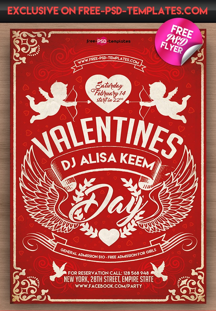 Valentines Day Free Flyer Template PSD
