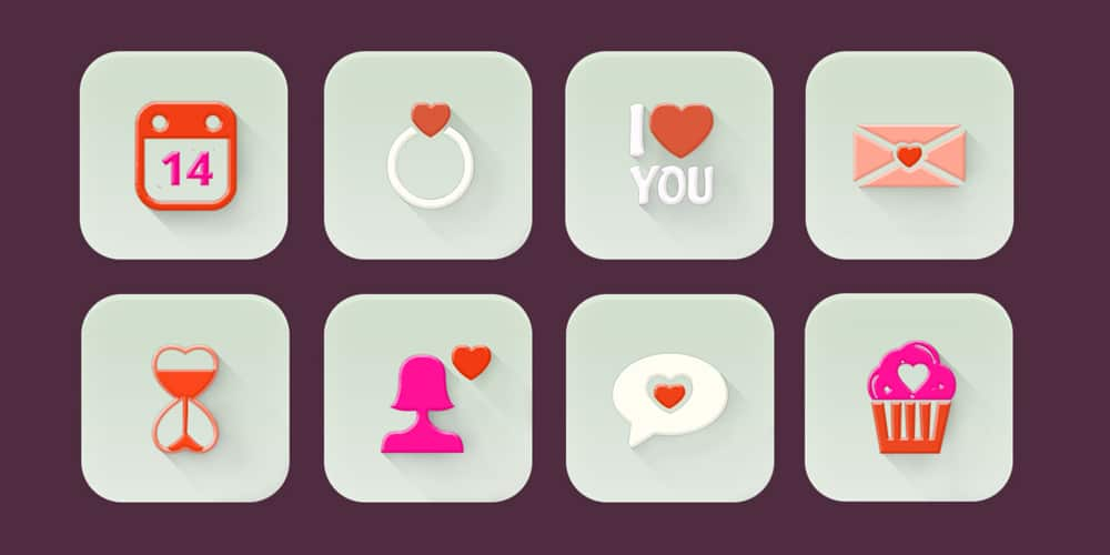 Valentine's Day Icons PSD