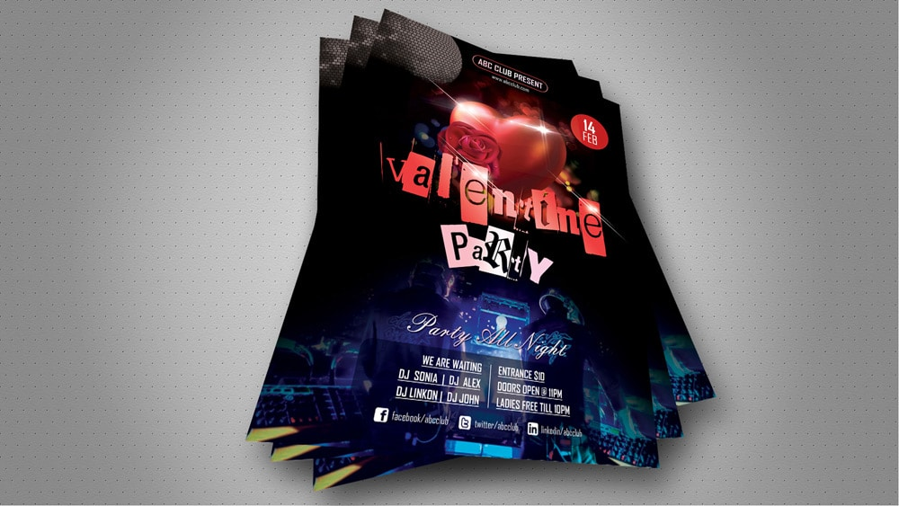 Valentines Day Night Party Flyer PSD