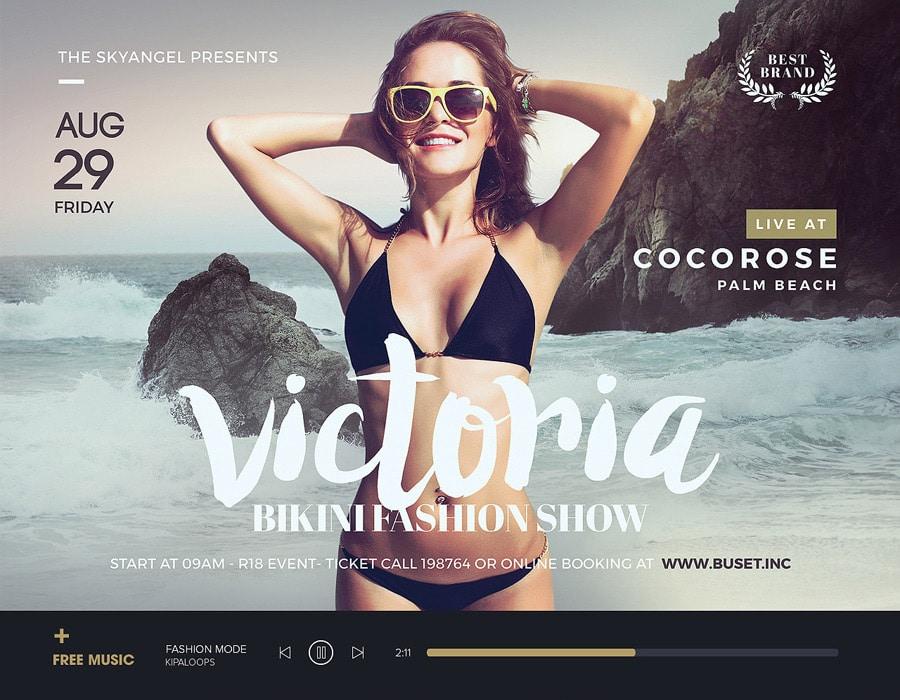 Victoria Bikini Show Flyer PSD