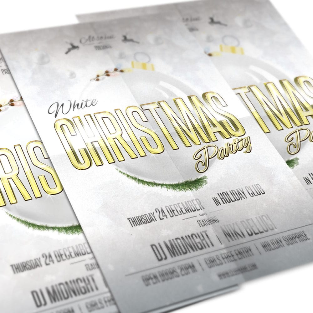 White Christmas Party Flyer PSD