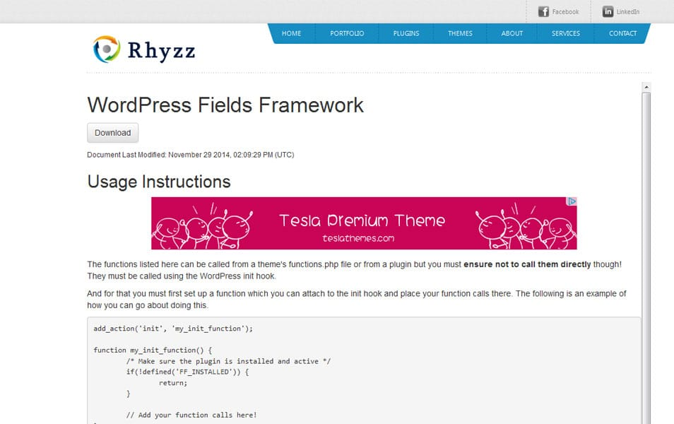 WordPress Fields Framework