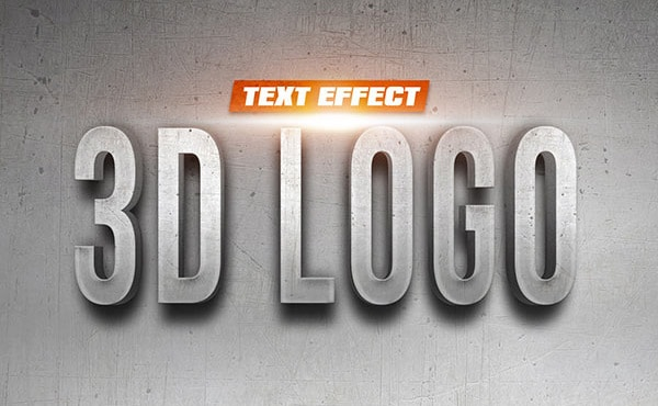 3D Logo On Wall Text Effect PSD