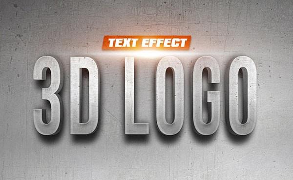 3D Logo On Wall Text Effect PSD