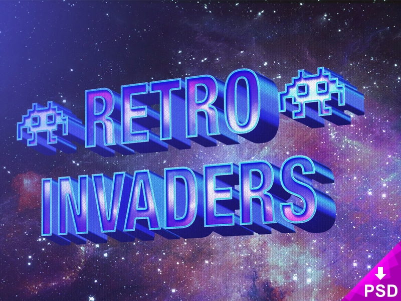3D Retro Layer Text Style PSD