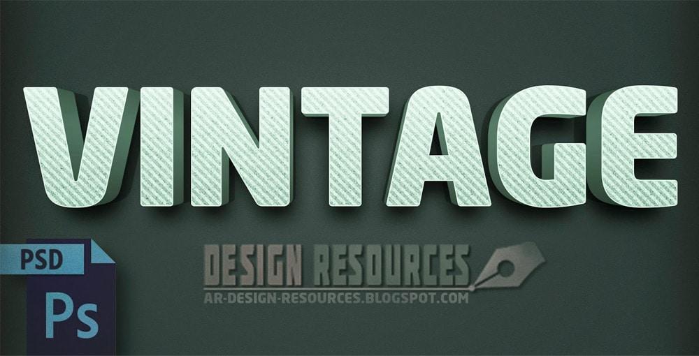 3D Vintage Text Effect PSD