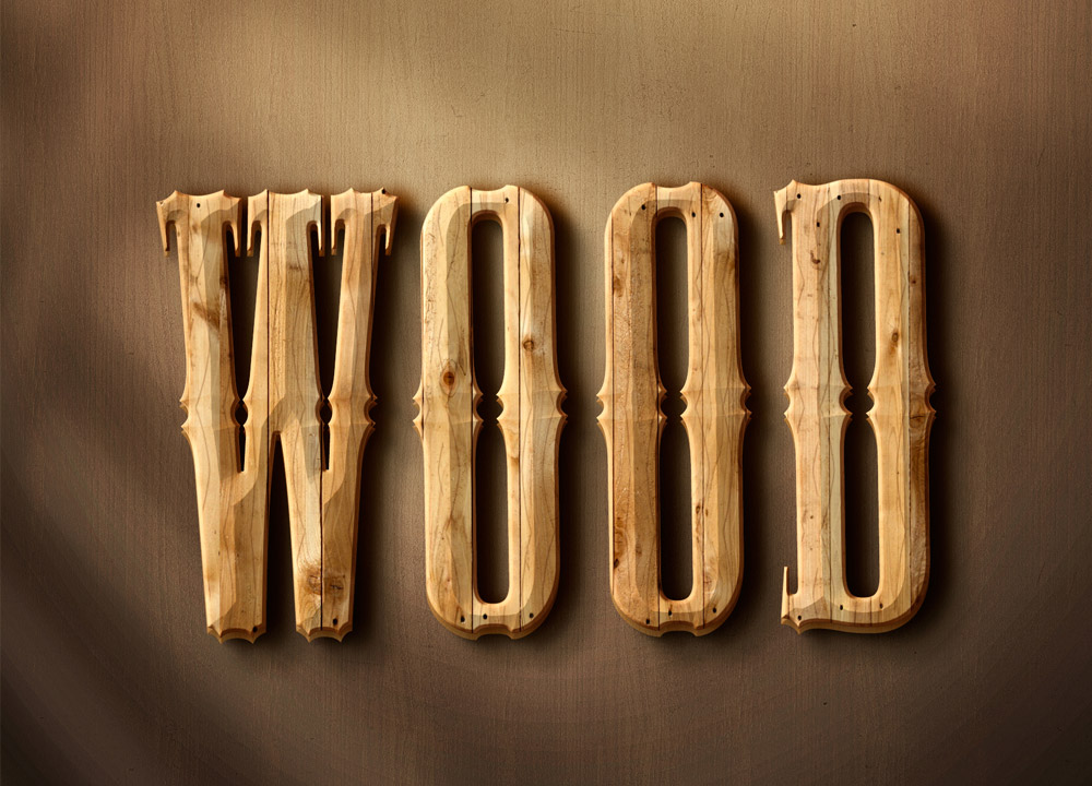 3d Wood Text Style