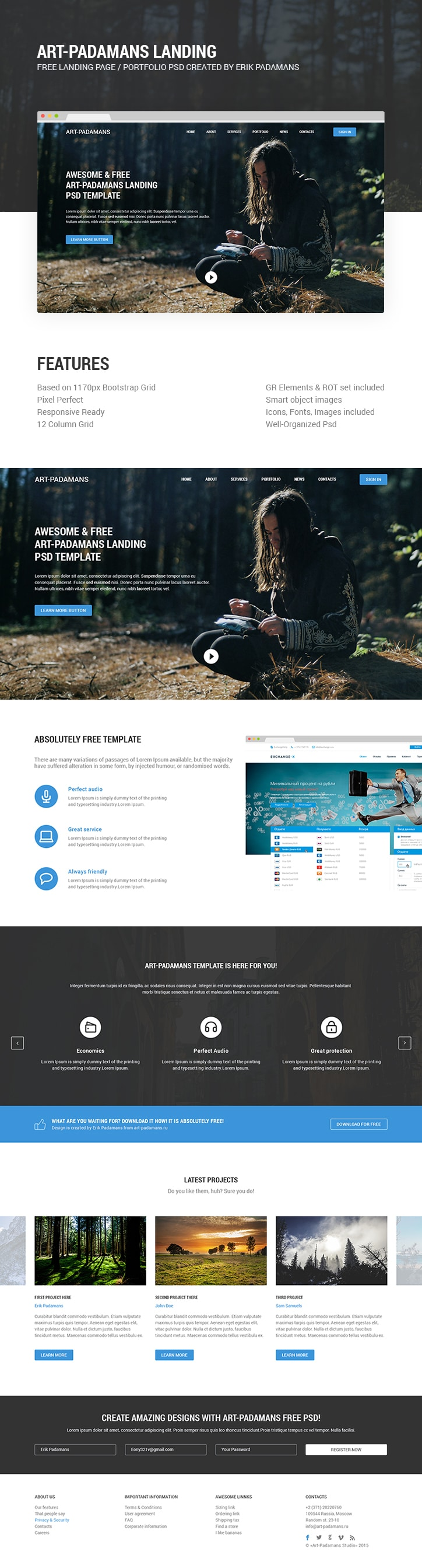 Art-Padamans Landing Page Web Template PSD