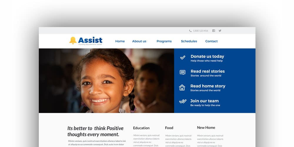 Assist Free Web Template PSD