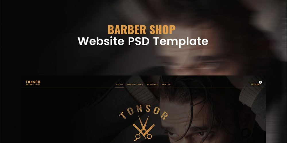 Barber Shop Web Template PSD