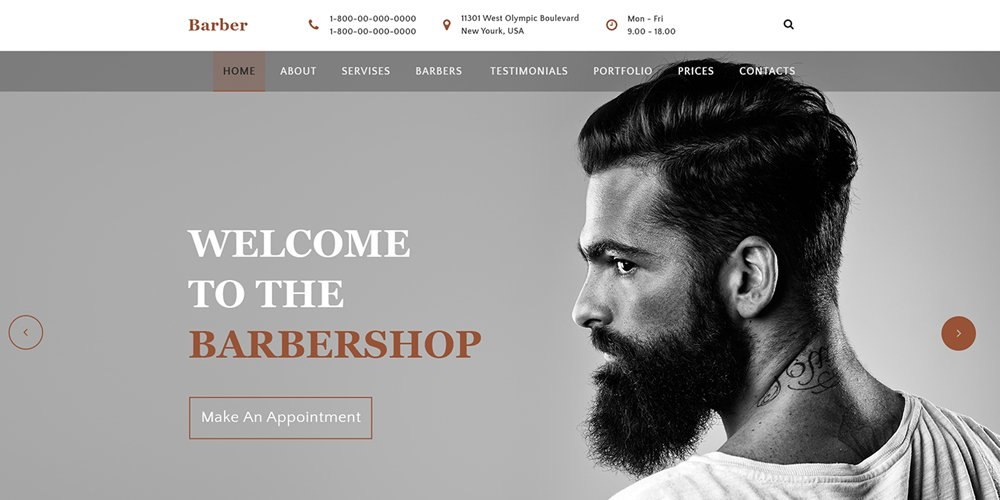 Barbershop Web Template PSD