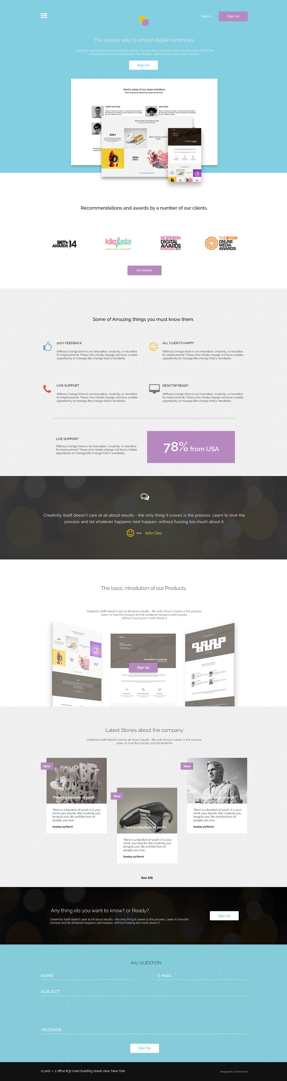 CLand – Landing Page Template PSD