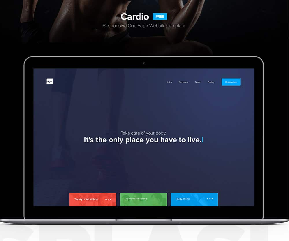 Cardio Free One Page Website Template