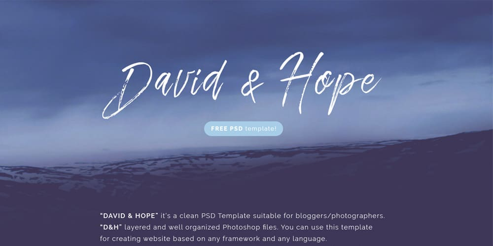 David & Hope Free Blog Style Template PSD