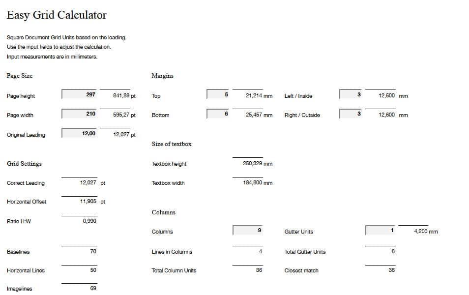 Easy Grid Calculator