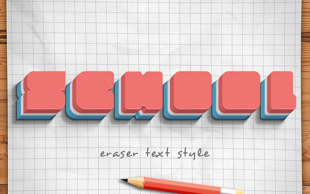 Eraser Text Style PSD