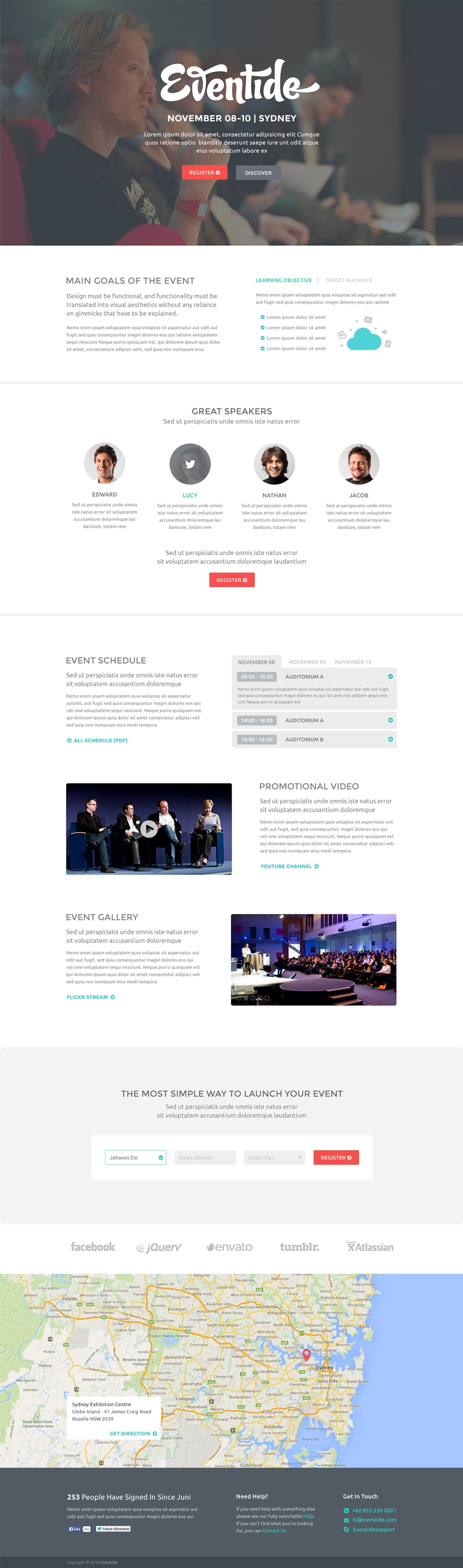 Eventide - Free Landing Page Template PSD