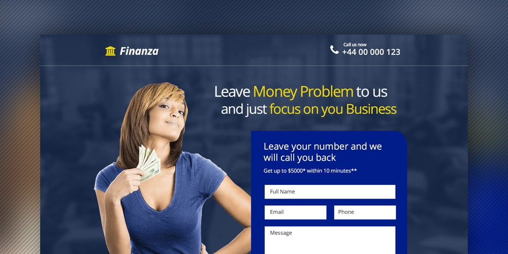 Finance and Banking Landing Page PSD