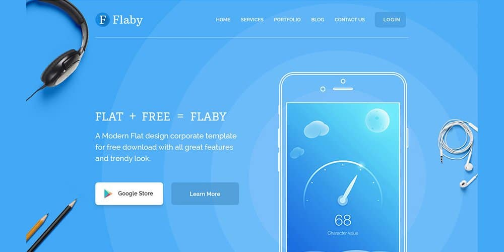 Flaby Free Flat Landing Page PSD
