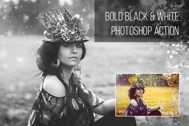 Free Bold Black & White Photoshop Action
