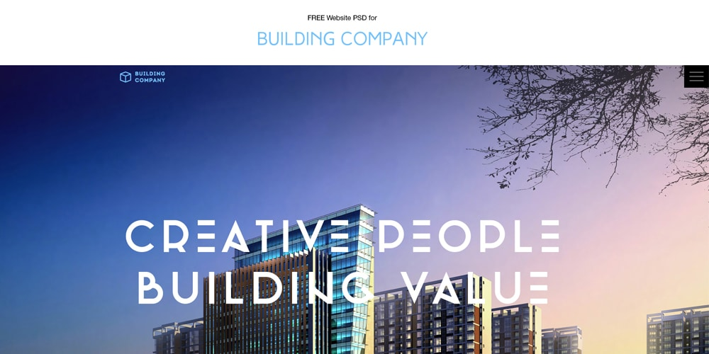 Free Building Company Web Template PSD