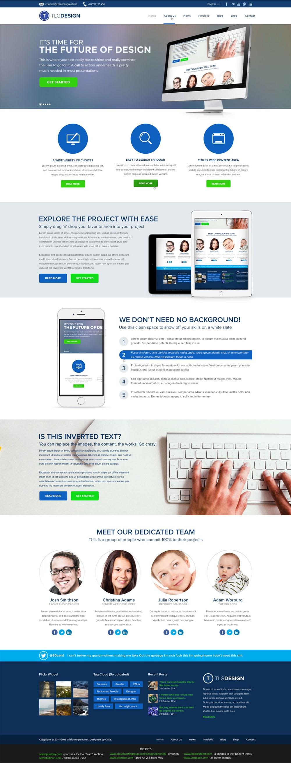Free Design Agency Homepage Portfolio PSD