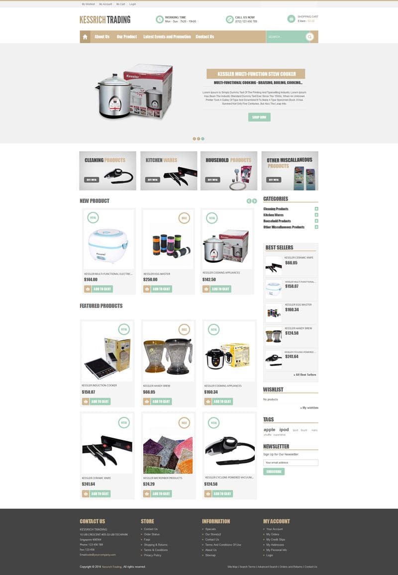 Free Houseware Web Template PSD