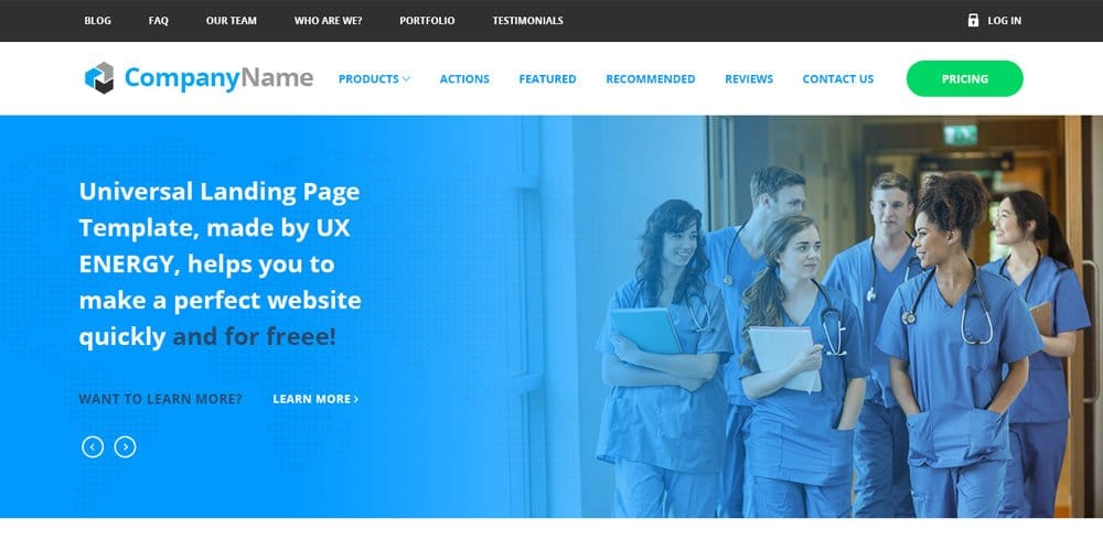 Free Landing Page Web Template PSD