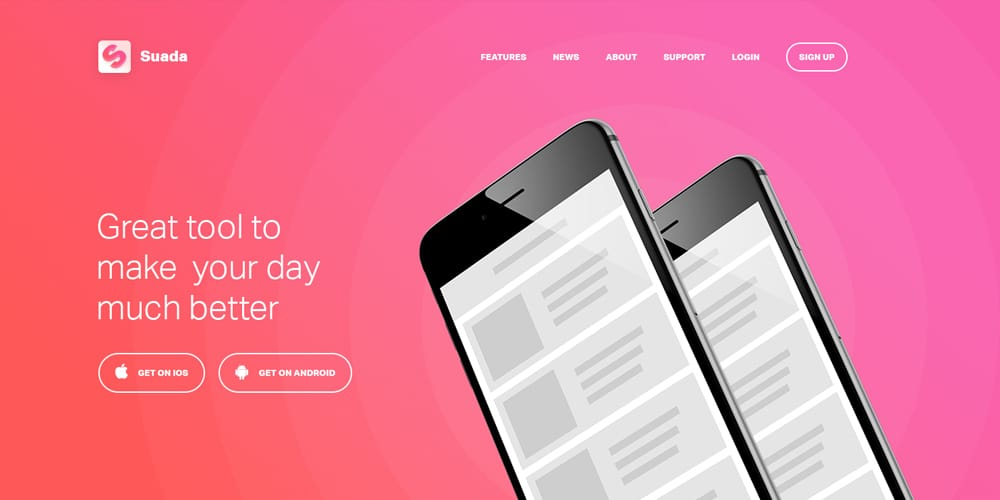 Free Mobile App Landing Page PSD