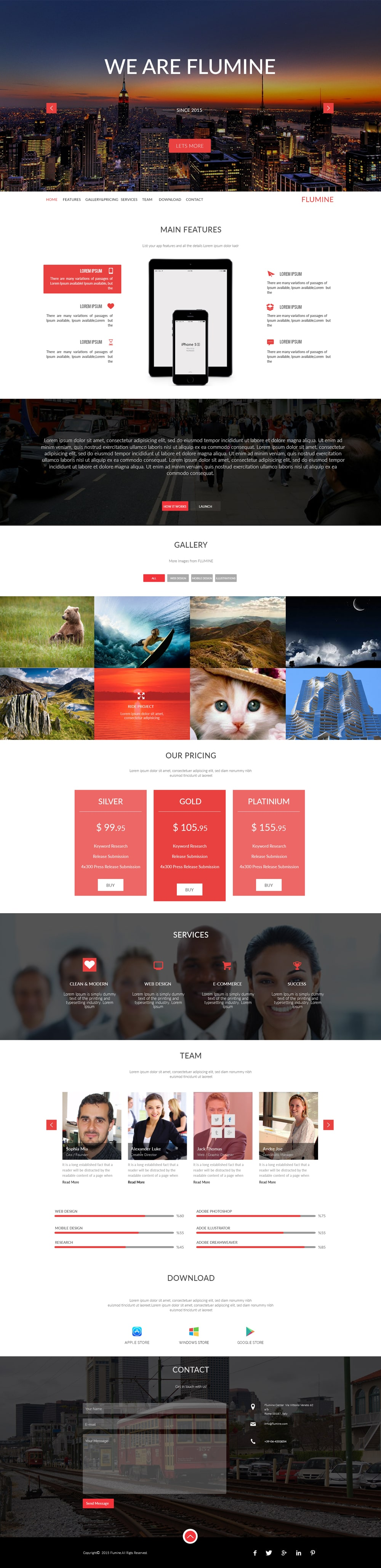 Free Multi Purpose Landing Page Web Template PSD