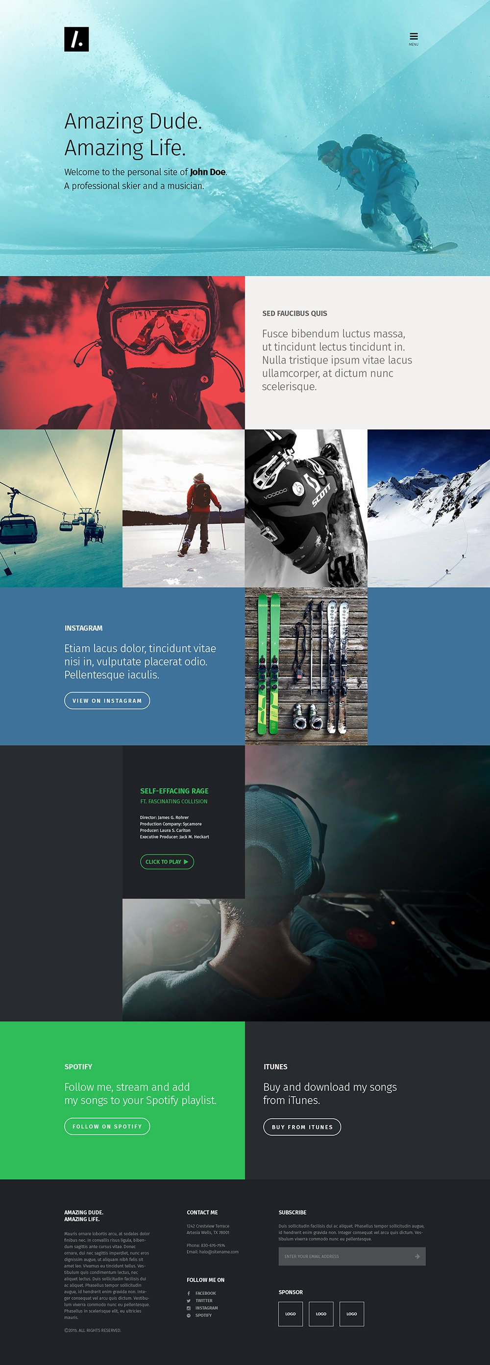 Free single page website templates psd css author for Architecture site web