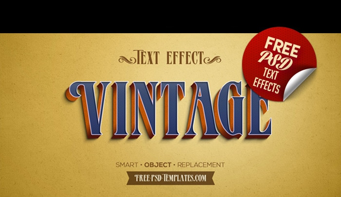 Free Retro Vintage Text Effects PSD