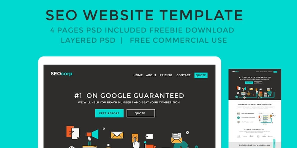 F Free SEO Website Template PSD