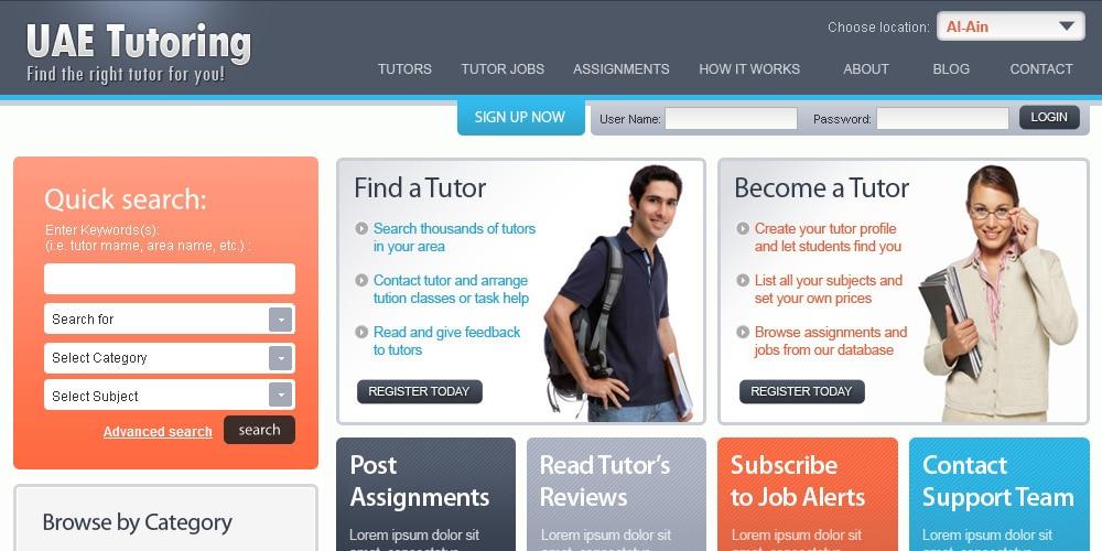Free Tutoring Website Template PSD