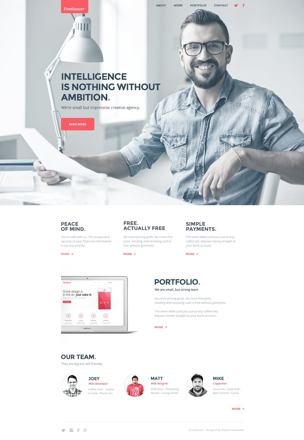 Freelancer Free Web Template PSD