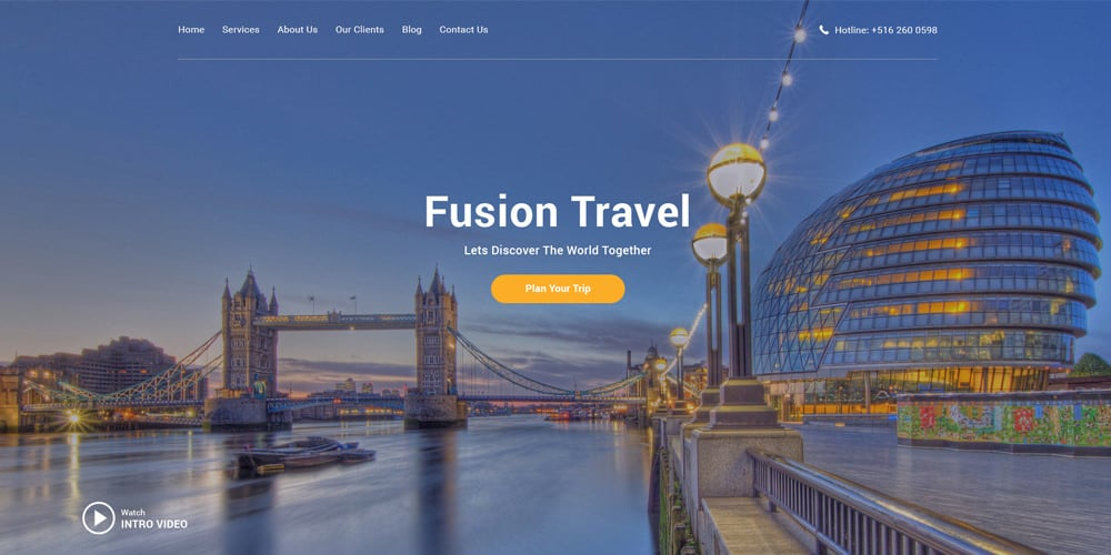 Fusion Free Travel Agency Web Template PSD