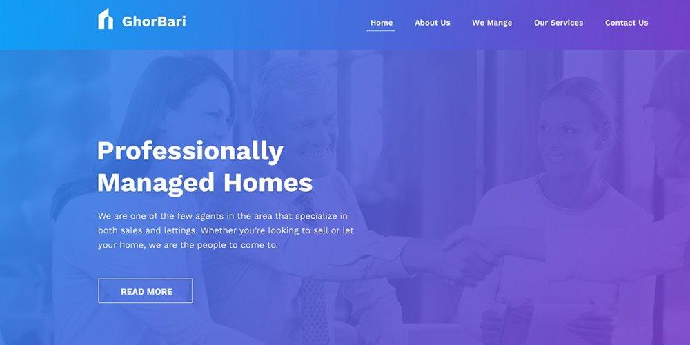 GhorBari Real Estate Web Template PSD