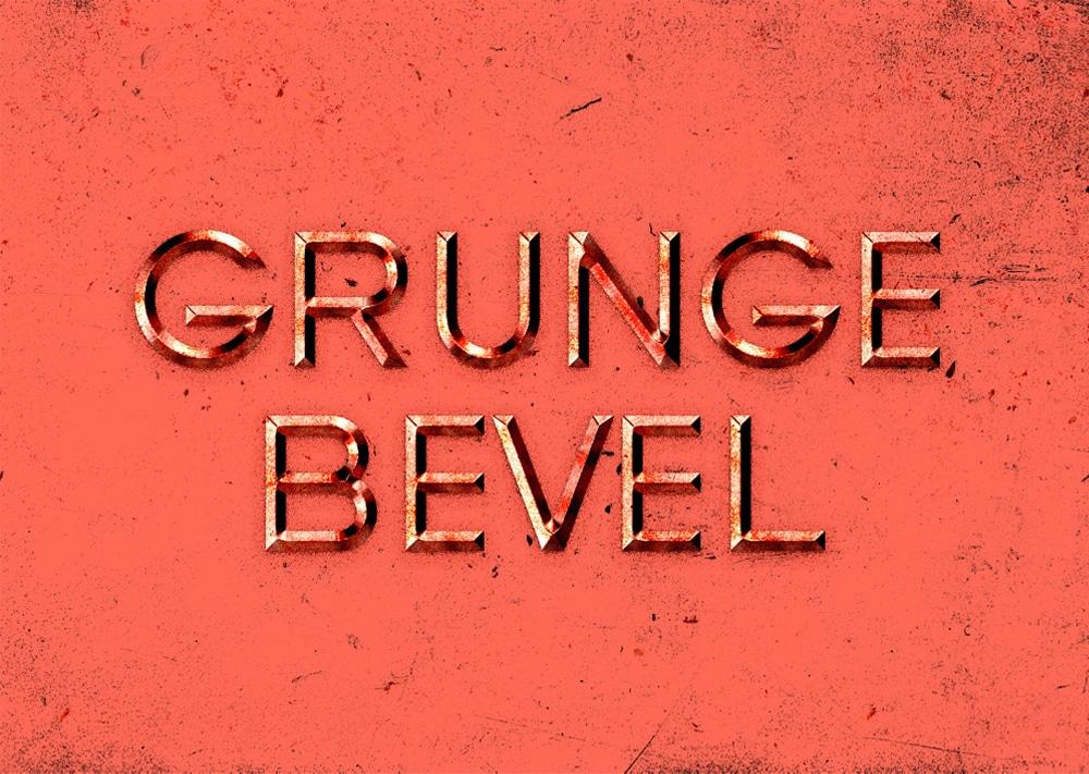 Grunge Bevel Text Effect PSD