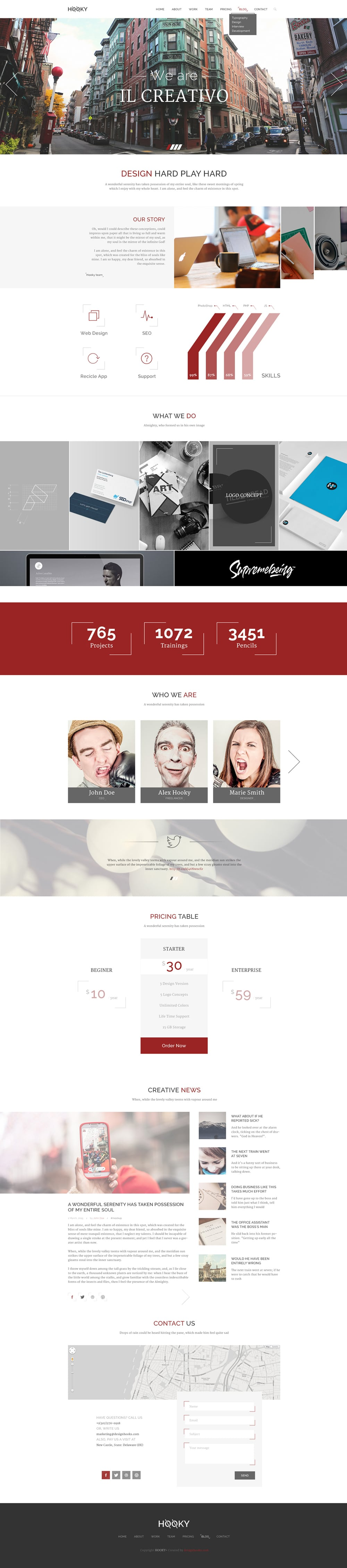 Hooky – Creative One Page Web Template PSD
