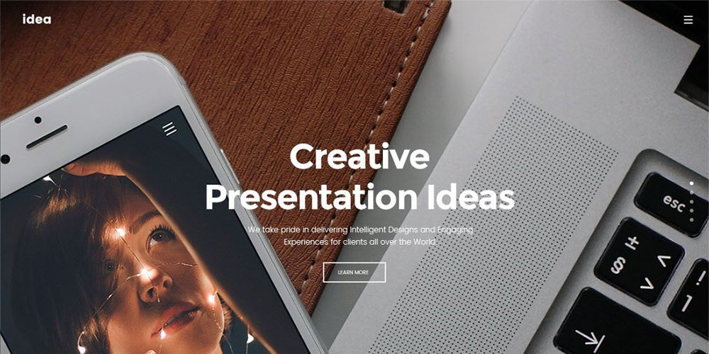 Idea Free Landing Page Template PSD