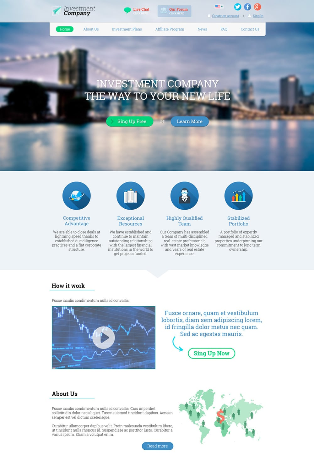 Investment Company - Free Landing Page Web Template PSD
