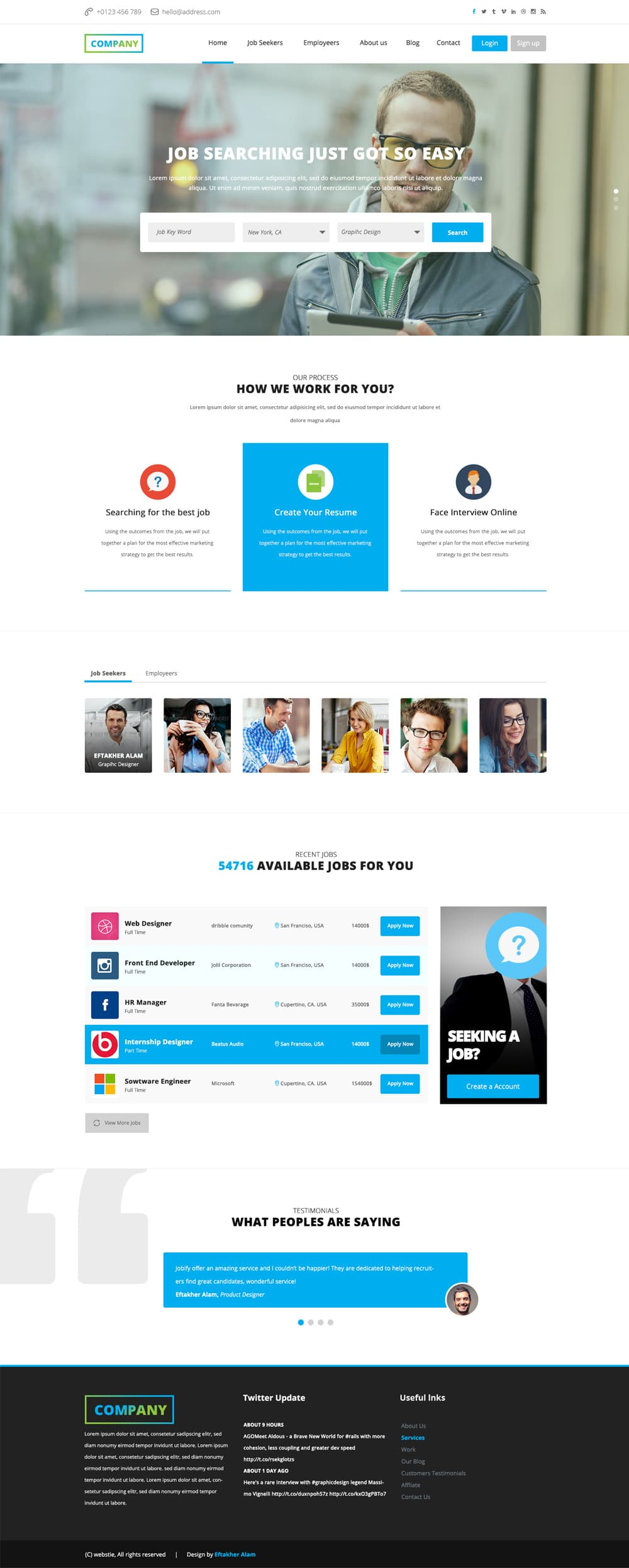 Job Board Web Template Free PSD