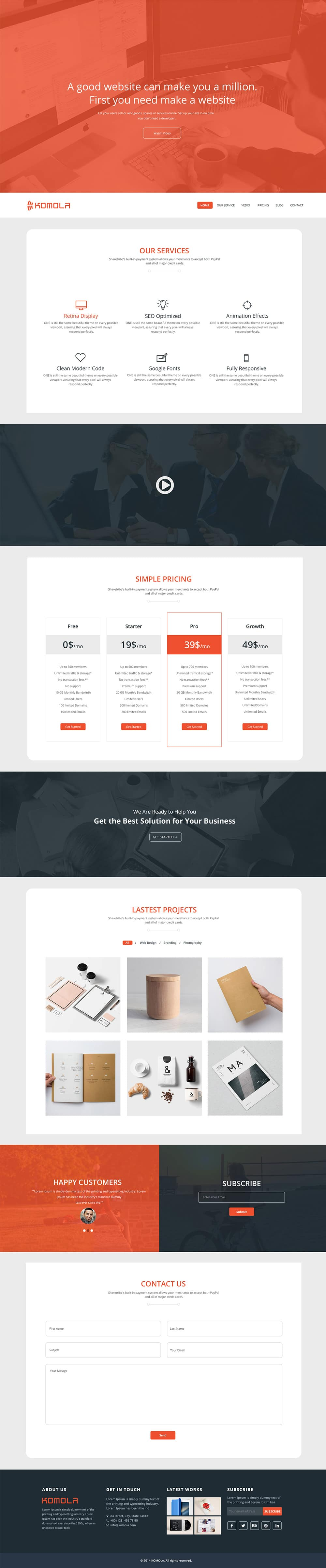 komola free onepage corporate web template psd komola