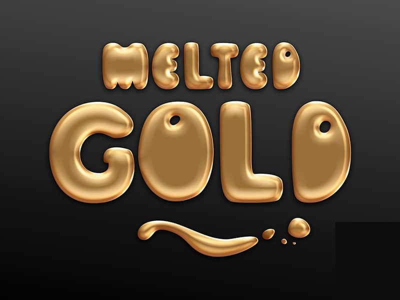 Melted Gold Text Style PSD