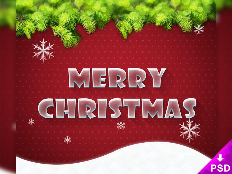 Free Merry Xmas Text Style PSD