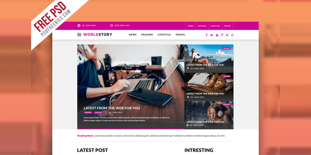 Multipurpose Magazine Blog Web Template PSD